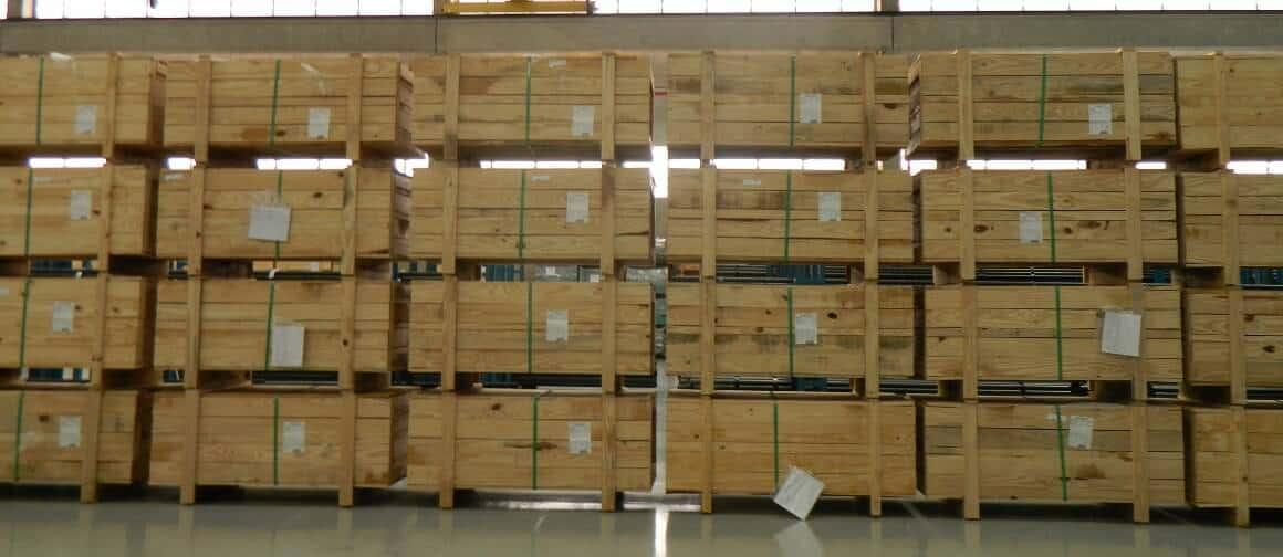 Caixas de madeira para armazenamento de peças tubulares em aço carbono
