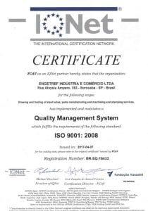 Certificado ISO 9001 IQNet da Engetref (2017)