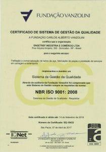 Certificado ISO 9001 Vanzolini da Engetref (português) (2017)