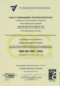 Certificado ISO 9001 Vanzolini da Engetref (inglês) (2017)