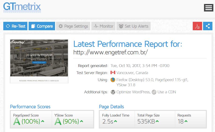 Relatório de desempenho do site da Engetref no GTMetrix
