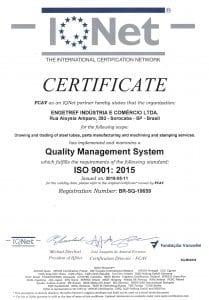 Certificado ISO 9001:2015 IQNet da Engetref (inglês) (2018)