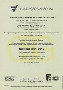 Certificado ISO 9001:2015 Vanzolini da Engetref (inglês) (2018)
