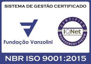 Logotipo ISO 9001:2015 da Fundação Vanzolini