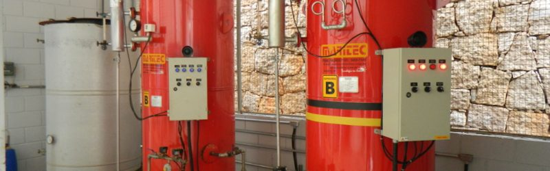 Novo aquecedor à gás (caldeira) adquirida pela Engetref em janeiro de 2019 (vista geral da área de aquecimento à gás)