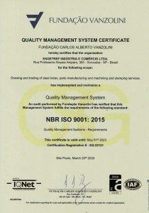 Certificado ISO 9001:2015 Vanzolini da Engetref (inglês) (2020)